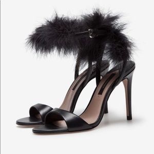 Uterque Feather Trim Ankle Heels